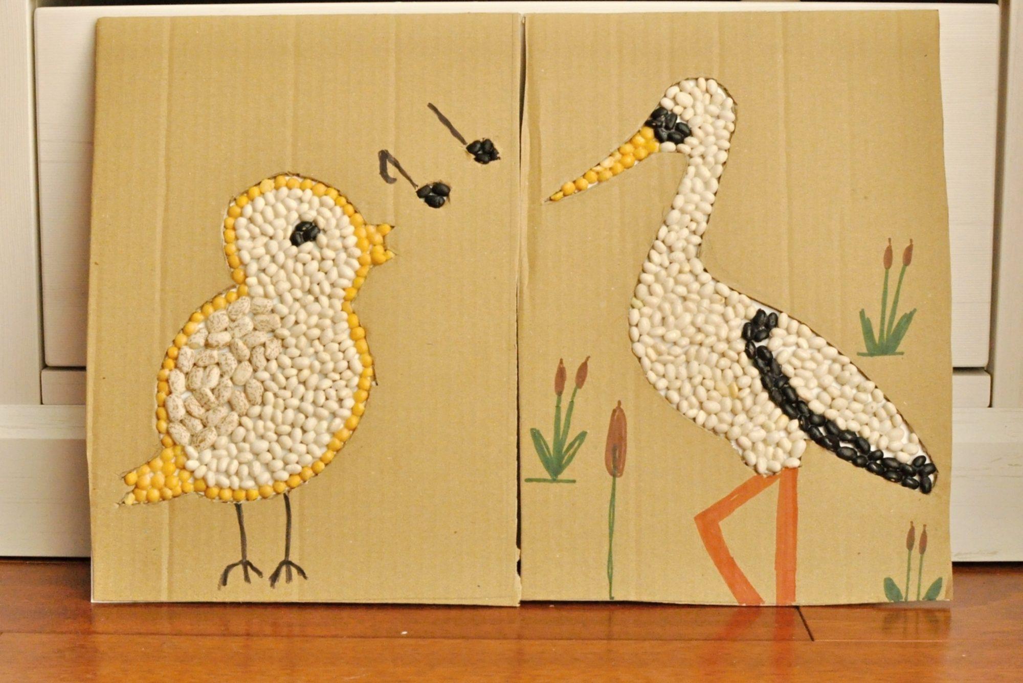 Jarná semienková mozaika. Vtáčiky